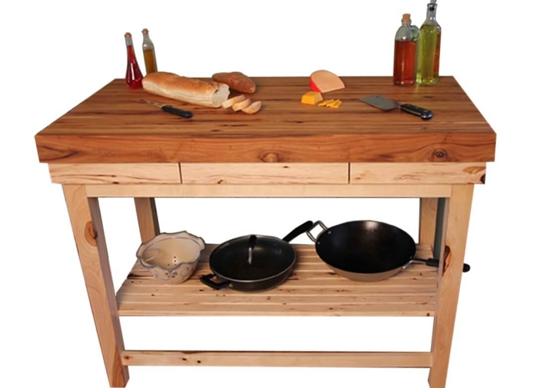 butcher block kitchen island hickory butcher block rustic kitchen with island amp hickory cabinets click to